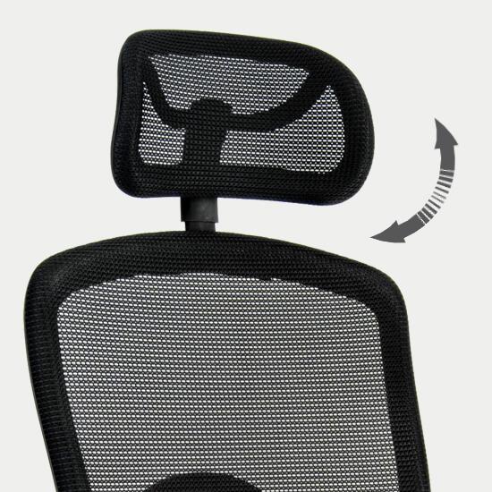 Zoom sur la têtière réglable du fauteuil de bureau ergonomique anti mal de dos Kadan