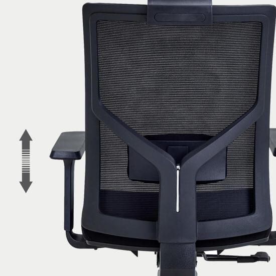 Zoom sur le support lombaire réglable du fauteuil de bureau Zalana