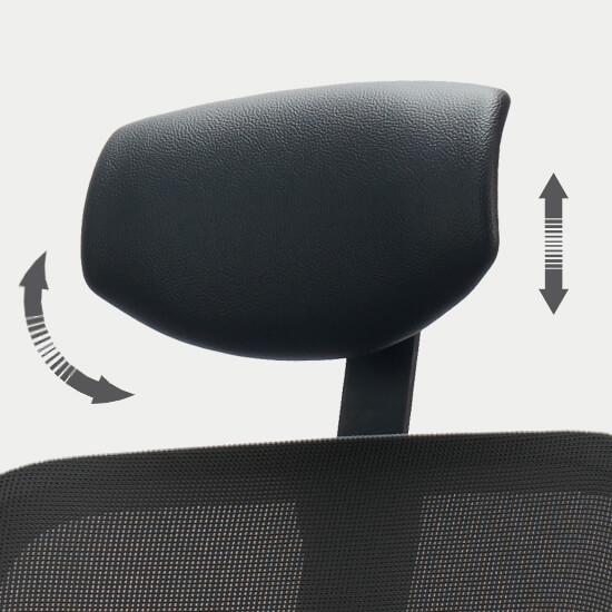 Zoom sur le têtière réglable en hauteur du siège de bureau ergonomique tissu/filet Quantum