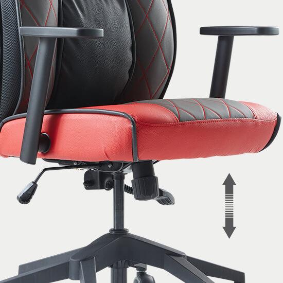 Zoom le réglage de la hauteur d'assise du fauteuil de bureau gamer Play