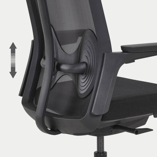 Zoom sur l'assise du fauteuil de bureau synchrone Roncey