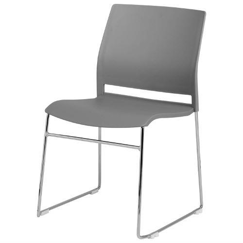 LORIENT - Chaise visiteur empilable plastique piétement luge - Grise