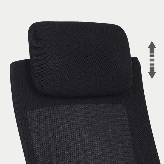 Zoom sur la têtière réglable en hauteur du siège de bureau en tissu filet confortable Orly