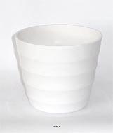 Pot en plastique blanc brillant cache pot H 14 cm Blanc neige