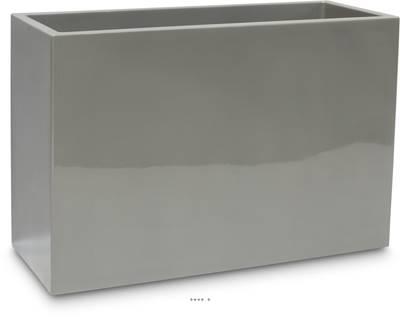 Bac fibres de verre robuste et revêtement gelcoat qualité marine 40x90 cm H 60 cm Ext. claustra gris