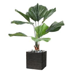 Palmier Licuala Artificiel H 120 cm D 90 cm 9 feuilles en pot