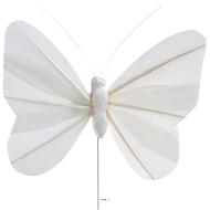 Papillons artificiels x 6 blancs L 8 5 X H 5 cm