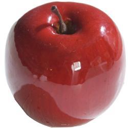 Pomme artificielle rouge brillante D9cm Superbe en Decoration