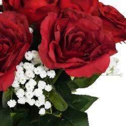 Bouquet artificiel création fleuriste rouge amour x15 roses H 75 cm