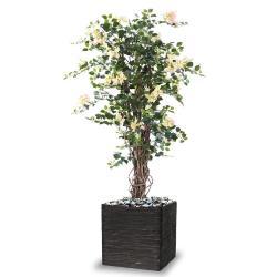 Bougainvillier artificiel tronc bois H150 cm Crème-Rose