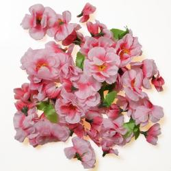Tetes de fleurs de Pecher Artificielles en tissu X 40 et 5 feuilles Superbe Rose