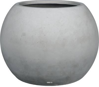 Bac polystone Ø 80 cm H 57 cm Ext. boule gris ciment