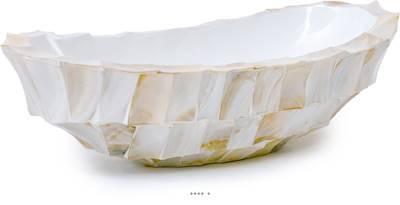 Bac fibres de verre et coquillages 46 x 20 cm H 13 cm Ext. plat crème