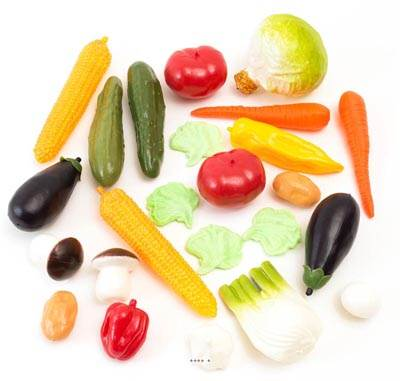 Legumes artificiels assortis en lot de 24 en Plastique soufflé
