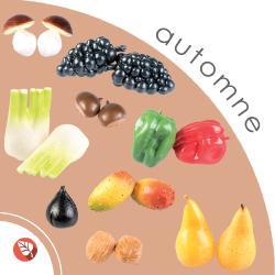 Lot 17 Légumes et fruits artificiels d'Automne en plastique soufflé