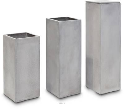 Bac fibres de verre et composite 35 x 35 cm H 80 cm Ext. IF carré haut gris clair
