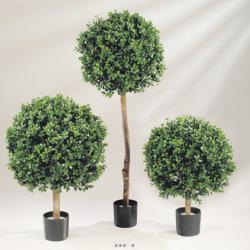 Buis Boule artificiel H 75 cm D 70 cm 16896 feuilles Tissu en pot