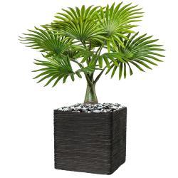 Palmier Bouteille artificiel H 45 cm 9 palmes en pot