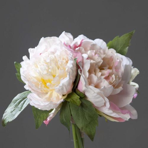 Bouquet de 3 Pivoines Rose epanouies artificielles Corde et feuillage H 26 cm
