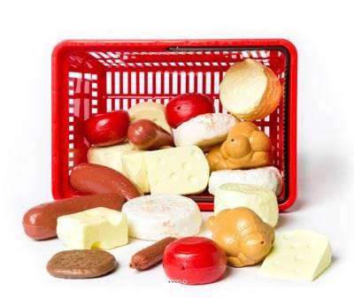 Panier de 27 aliments artificiels assortis en Plastique soufflé