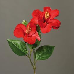 Hibiscus artificiel en branche H 65 cm 2 fleurs exotiques Rouge