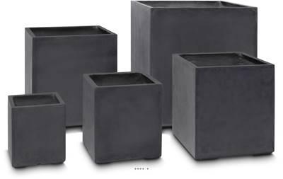 Bac fibres de verre et composite 30 x 30 cm H 34 cm Ext. cube gris anthracite