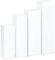 Piédestal fibres de bois MDF 25 cm x 25 cm H 70 cm Int. carré haut blanc glossy