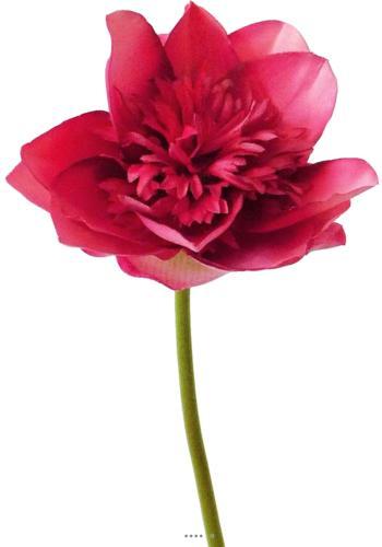 Lotus en fleur Zihia artificiel Fushia H 50 cm Tres belle tete D 11 cm
