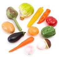 Legumes artificiels assortis en lot de 12 en Plastique soufflé