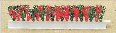 Barrette X 12 entre plats separateurs socle blanc L 25 cm feuillage Cypres Vert -Rouge artificiel
