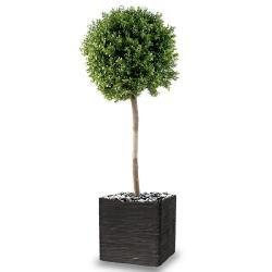 Buis boule artificiel H 110 cm D 45 cm tronc naturel Int Ext en pot