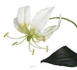 Lys gloriosa artificiel Creme 2 fleurs 1 bouton H 78 cm superbe