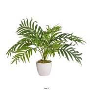 Palmier Areca artificiel en pot céramique blanc, H 60 cm