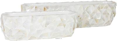Bac fibres de verre et coquillages 60 cm x 15 cm Ext. vase jardinière crème