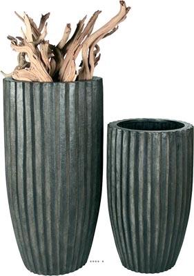 Bac en Polystone Strips Ext. Colonne ronde D 50 x H 100 cm Noir