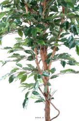 Ficus Benjamina artificiel Vert grande feuille1 tronc naturel en pot tronc naturel H 120 cm Vert
