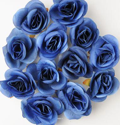 Tetes de rose Artificielle X 12 Bleu D 4 50 cm pour Boule de rose