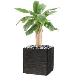 Bananier artificiel 3 troncs en pot H 132 cm D 70 cm 19 feuilles