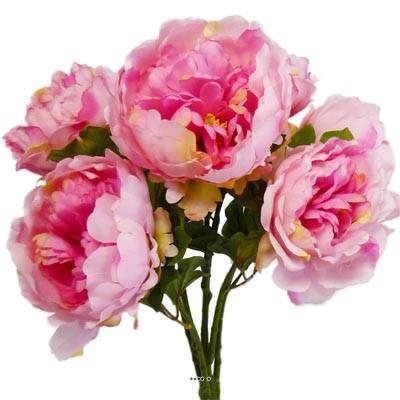 Bouquet de Pivoines artificielles 7 tetes Hauteur 55 cm Rose