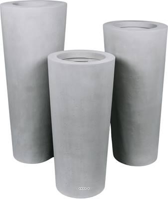 Bac polystone Ø 43 cm H 80 cm Ext. colonne gris ciment
