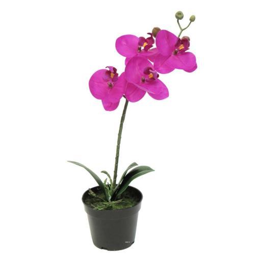 Orchidée Phalaenopsis artificielle en pot qualité décorateur H 35 cm Rose fushia