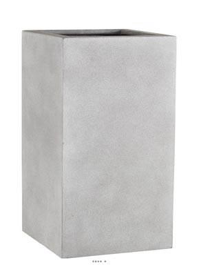 Bac Fibre de verre et composite Farn Exterieur Carre haut L 27 x 27 xH 47cm Sable