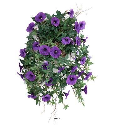 Ipomee liseron artificielle retombante en pot H 60 cm superbes fleurs Pourpre