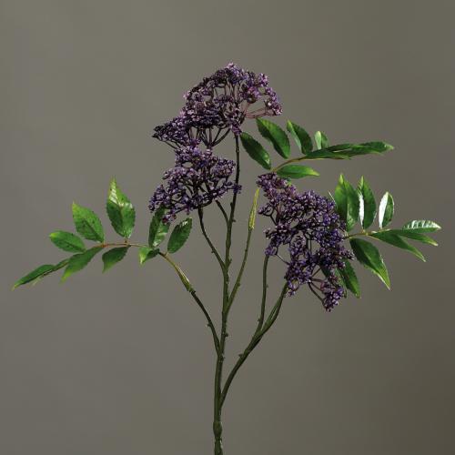 Branchage de Sureau piquet fleuri artificiel H 78 cm 5 tetes tres dense Mauve violet