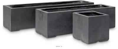 Bac fibres de verre et composite 23 x 23 cm H 23 cm Ext. cube gris anthracite