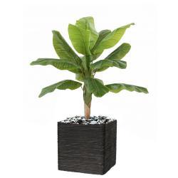 Bananier artificiel en pot H 100 cm 12 feuilles D 70 cm