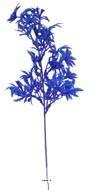 Branche de feuilles de Papaye artificielle H 35 cm plastique ext Bleu royal