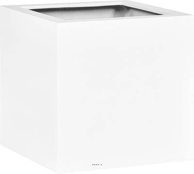 Bac fibres de verre et plastique renforcé 50 x 50 cm H 50 cm Ext. cube blanc mat