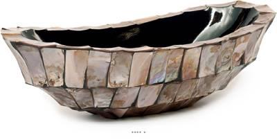 Bac fibres de verre et coquillages 46 x 20 cm H 13 cm Ext. plat marron