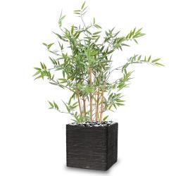 Bambou artificiel en pot special UV pour exterieur H 90 cm Vert